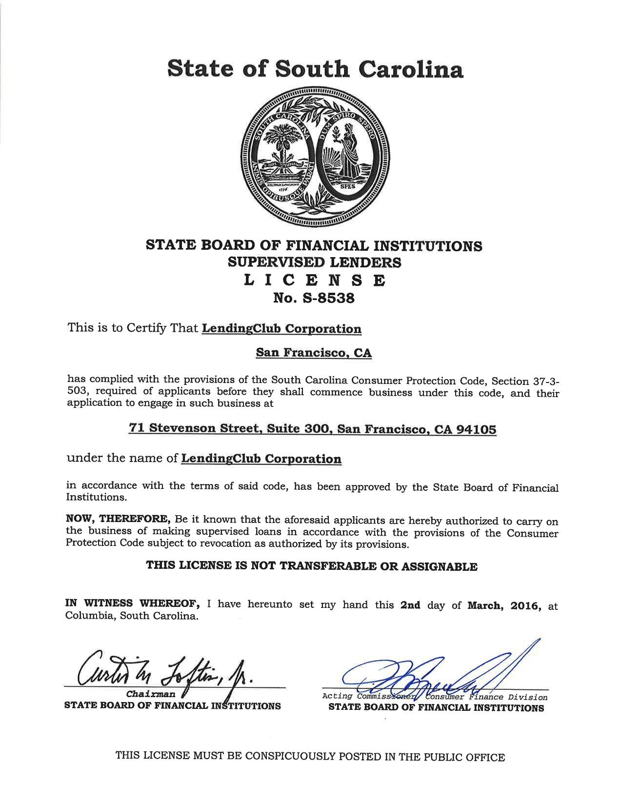 south-carolina-supervised-lender-licenses-s8538