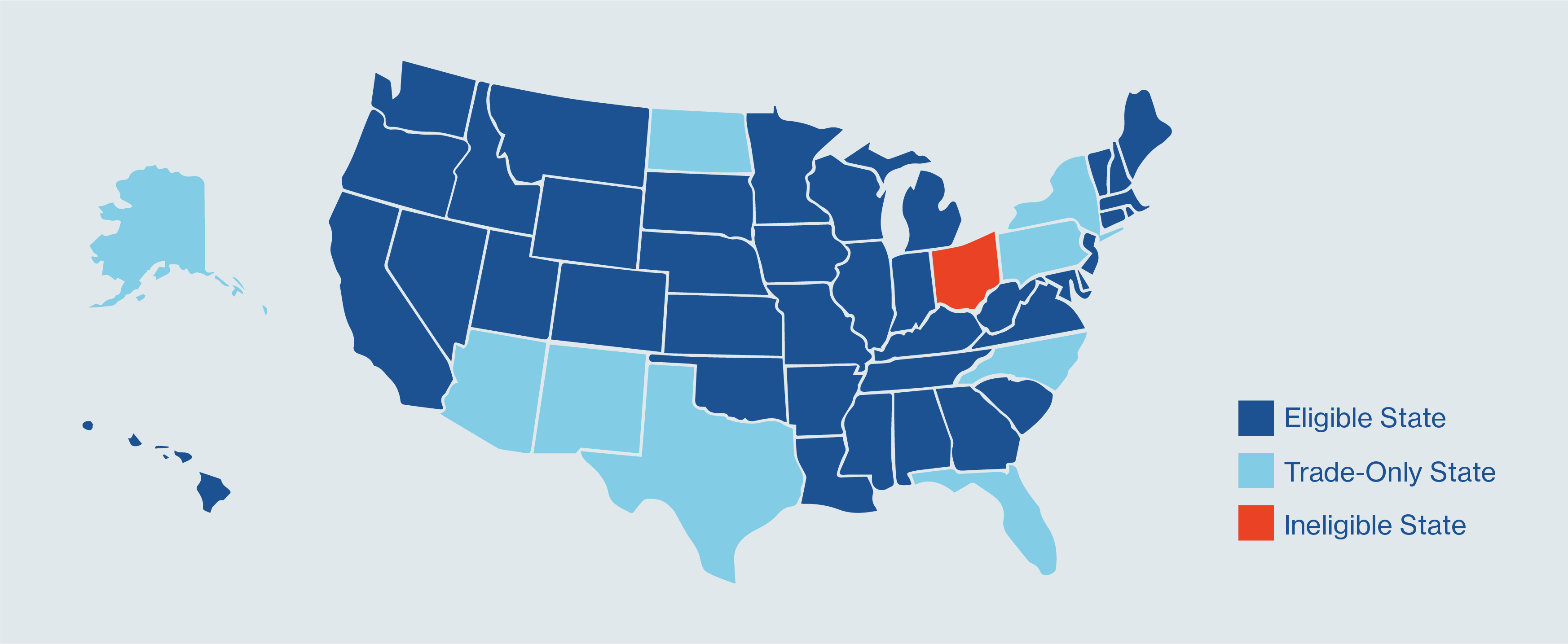 Graphic that highlights states that are eligible for investing in LendingClub Notes.