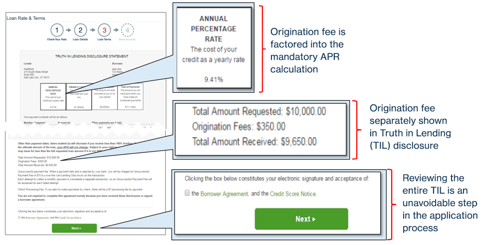 LendingClub fee disclosures